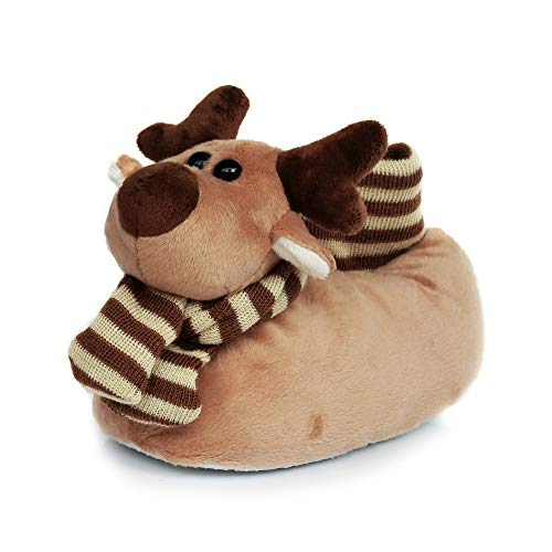 Kids Novelty Slippers for Boys and Girls, Furry Winter Animal Moose Deer Plush Slippers for Toddler and Little Kid