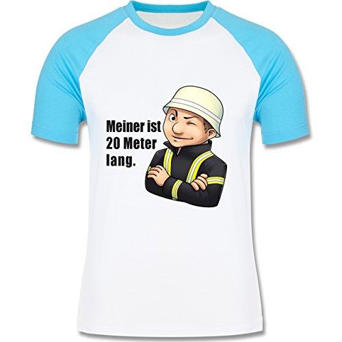 Feuerwehr - Feuerwehrmann - Meiner ist 20 Meter lang. - zweifarbiges Baseballshirt für Männer Weiß/Türkis