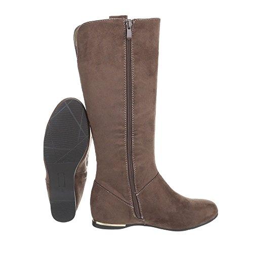 Keilstiefel Damenschuhe Keilstiefel Keilabsatz/ Wedge Keilabsatz Reißverschluss Ital-Design Stiefel Hellbraun