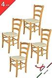 Tommychairs 4er Set Stühle Venice Robuste Struktur aus lackiertem Buchenholz im Farbton Honig und Sitzfläche mit Kunstleder in der Farbe Elfenbein bezogen. Set Bestehend aus 4 Stühlen Venice