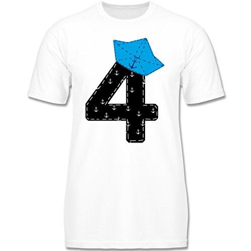 Geburtstag Kind - 4. Geburtstag Pirat Schiff - 98-104 (3-4 Jahre) - Weiß - F140K - Jungen T-Shirt