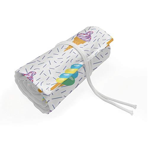 ABAKUHAUS Eis Mäppchen Rollenhalter, Sommer Milchdessert, langlebig und tragbar Segeltuch Stiftablage Organizer, 36 Schlaufen, Mehrfarbig