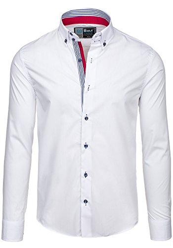 BOLF Herren Langarm Herrenhemd Figurbetont Freizeit Slim 5806 Weiß