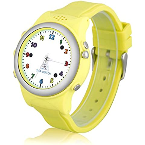 Top Watch TW061 - Smartwatch Pulsera de Reloj Infantil con GPS LBS Localizador Seguridad de Niños SOS Llamada Sim para Android Ios, Amarillo