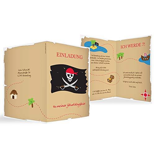 greetinks 10 x Einladungskarten Kindergeburtstag 'Piraten Party' in Rot | Personalisierte Geburtstagskarten zum selbst gestalten | 10 Stück Einladungen Kinder Geburtstag - Jungen & Mädchen (Kinder-geburtstag Einladungen Personalisierte)