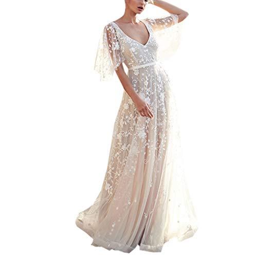 ZzZz en Dentelle à col en V pour Femme Longue Robe,Robe de mariée,Robe de Demoiselle d'honneur,Cadeau Saint Valentin (XL, Blanc)