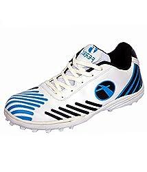 Feroc Mens Spirit White Blue Cricket Sport Shoes 9 UK