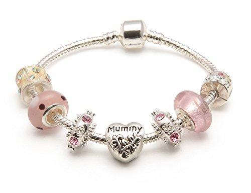 Bling rocks mummy 'vanilla kisses', colore: rosa brillante, con charm stile pandora-bracciale con perline, placcato argento, colore: rosa, cod. bwp08k-20cm