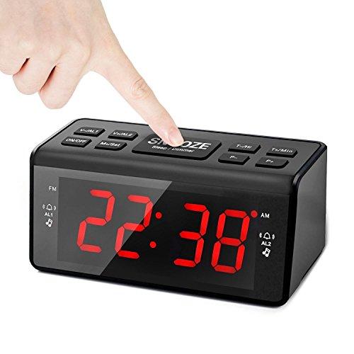 Radiowecker, Eaiitty Digitaler Wecker Radio mit AM/ FM-Radio | Dual-Wecker | Snooze funktion | Nachtlicht-Funktion | Sleep-Timer | Großes Display | Backup-Batterie | 2- Stufen Helligkeit, Schwarz