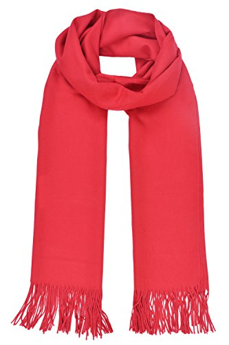 Cityoung-Echarpe Couleur Uni Etole hiver-Femme (Rouge,TU)