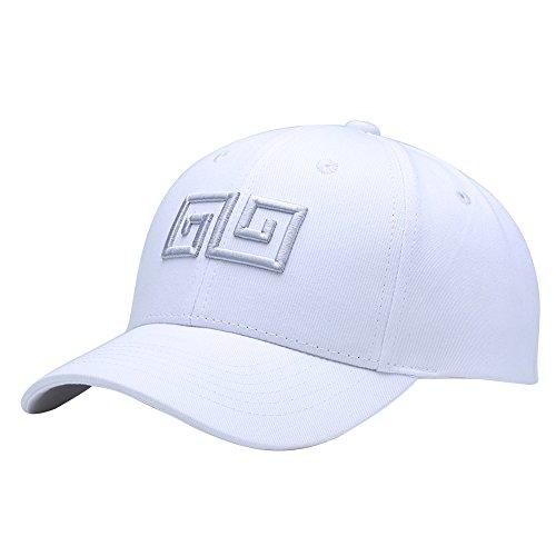 LvLoFit Hip Pop Baseball Kappe Atmungsaktiv Bio Baumwoll Wifi Gestickt Snapback Cap für Sport Tennis Fahren Golf Arbeiten (Weiß)