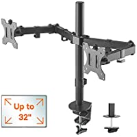 "1home Double Twin Arm Desk Mount PC Computer Monitor Screen Dual Bracket Ergonomic Tilt Swivel Rotation 15""-32"" 