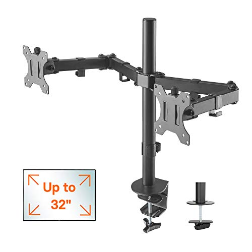 1home Double Twin Arm Desk Mount PC Computer Monitor