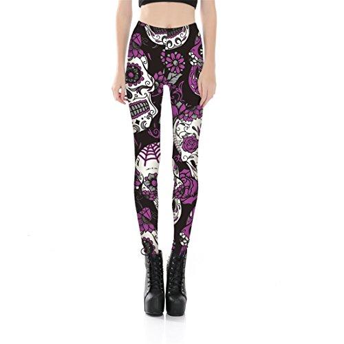 Mujeres Calavera Púrpura Impresa Yoga Capri Pantalones...