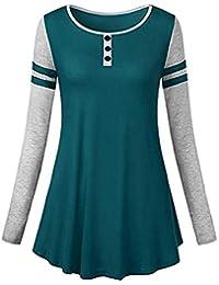 GHEMD Damen Tops Shirt Hemd Blose Frauen Reine Farbe O Neck Skirt Mantel  Herbst Winter Langen 4081fec4e1