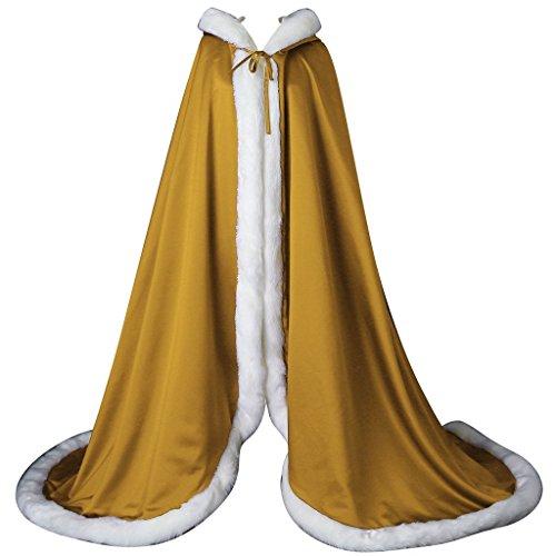 kivie Cape à Capuche Fourrure Longue de Mariée Chaude Capuchon Manteau de Mariage Or