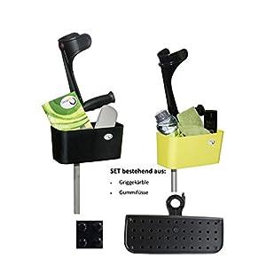 Griggekärble – Transporthelfer für Gehstützen/Krücken schwarz + Gummifüsse, SET