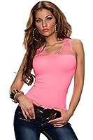 5767 Fashion4Young Damen Träger-Top Netz Shirt Netz-Top verfügbar in vielen Farben