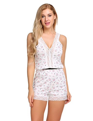 Ekouaer Damen Schafanzug Lässige Tiefer V-Ausschnitt Pyjama Lace Trimmed Shorts Overall Nachtwäsche (Overall Sizing)