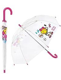 Smiley - Paraguas Infantil Transparente para niña - Cúpula - Antiviento - Manual