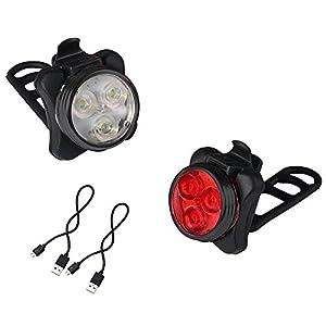 Phare Lampe de Vélo Avant et Arrière Rechargeable, Kungix Eclairages Vélo à LED Bicyclette Phare Avant et Arrière, Changer 4 Modes d'Eclairage