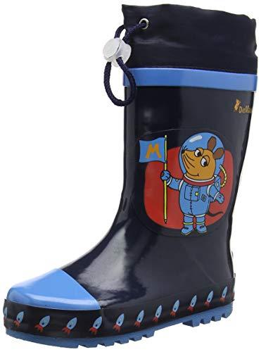 Playshoes Kinder Gummistiefel aus Naturkautschuk, trendige Unisex Regenstiefel mit Reflektoren, mit Eulen-Motiv -