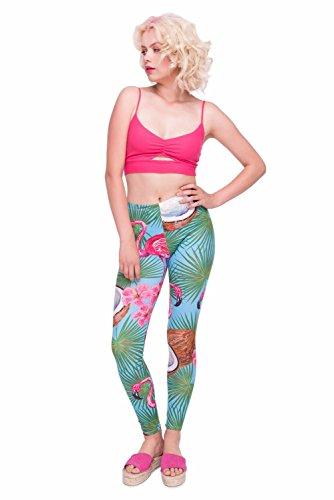 Kukubird Verschiedene Einhorn Flamingo Emoji Patterns Frauen Gym Fitness Leggings Running Yoga Pilates Skinny Hosen Strumpfhosen Größe 8 bis 12 Stretchable Coco Flamingo