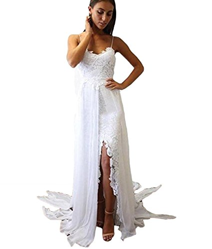 NUOJIA Rückenfrei Sexy Boho Böhmisch Hochzeitskleider Spitze Brautkleider Standesamt Weiß 38