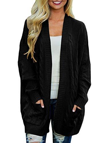Doballa Damen Vorne öffnen Chunky Zopfstrick Twisted Cardigan Pullover Mantel mit Tasche, Schwarz, Gr.- XL