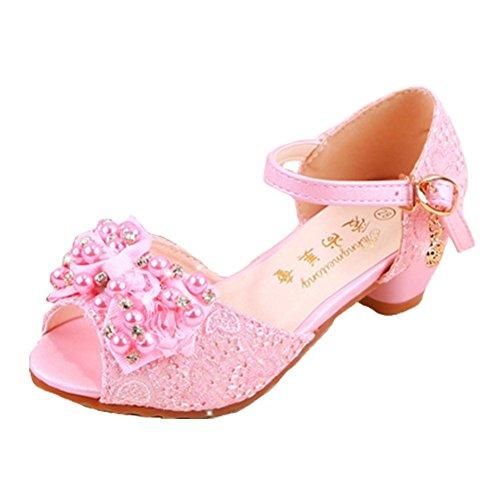 Ohmais Enfants Filles Chaussure cérémonie Ballerines à bride Fête Demoiselle d'honneur Mariage Escarpin à petit talon pink