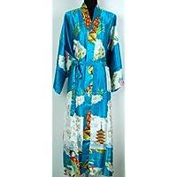 Shanghai Tone® Robe Kimono Pyjama Peignoir Geisha Fleur Mode Bleu Taille Unique