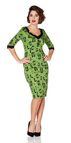 Voodoo Vixen KITTY Umbrella Cat Vintage Pin Up WIGGLE Dress Kleid Rockabilly