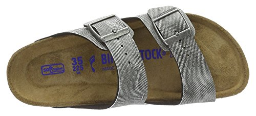 Birkenstock Unisex-Erwachsene Arizona Birko-Flor Softfootbed Pantoletten Grau (Used Jeans Grey)