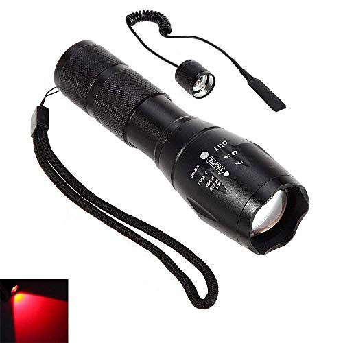 CentBest Lampe de poche LED faisceau rouge Zoom Cree Mise au point réglable de la flamme pour la chasse tactique Randonnée (Searchlight Switch + pression à distance LED)