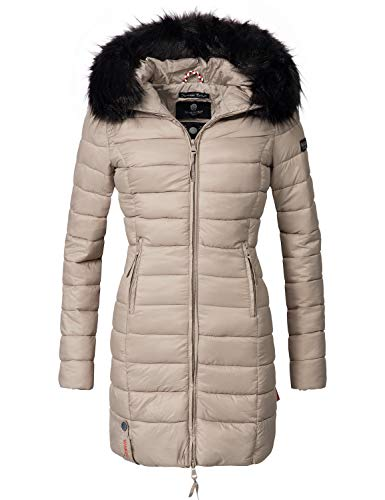 Marikoo Damen Winter-Mantel Steppmantel Rose (vegan hergestellt) Taupe Gr. L