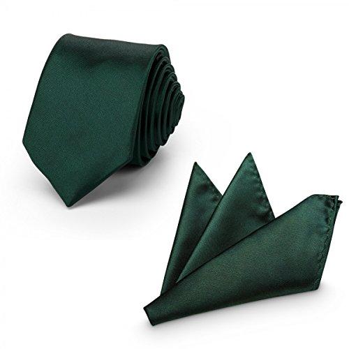 Rusty Bob - Herren-Krawatte mit Einstecktuch + Fliege - erhältlich in verschiedenen Farben - zum Anzug, zur Taufe, Hochzeits-Set - 3-teilig - Dunkelgrün (Grau Seide Grüne Krawatten)