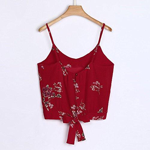 VRTUR T-Shirt Damen Sommer Bauchfrei Trägerlos V-Ausschnitt Stickerei Crop Tops Oberteile Bluse Patchwork Oberteile Weste (Large,E-Rot)
