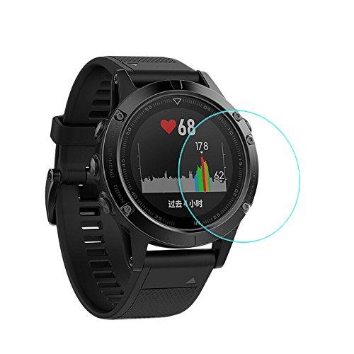 FBGood 2 Stück 9H+ Gehärtetes Glas Displayschutzfolie, Anti-Bubbles/Anti-Blaulicht/Anti-Fingerprint/Anti-Scratch Ultra Klar Film Uhr Bildschirm Beschützer für Garmin Fenix 5 GPS Watch (Samsung Gear 2 Ersatz-bildschirm)
