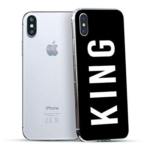 finoo | Iphone X Hard Case Handy-Hülle mit Motiv | dünne stoßfeste Schutz-Cover Tasche in Premium Qualität | Premium Case für Dein Smartphone| Love Laugh Live King
