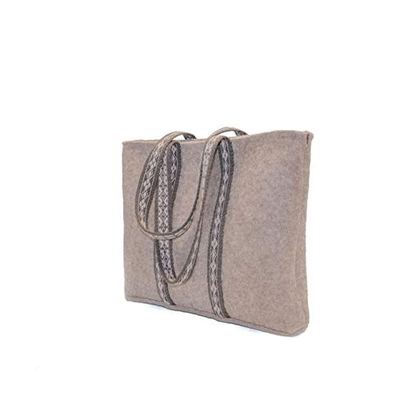 Felted tote bag - with handwoven handles - handmade in Finnish Lapland from Finnish wool - handmade-bags