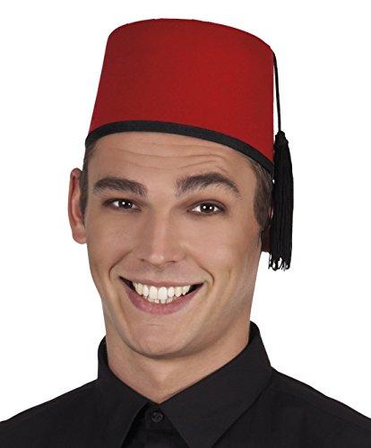 erdbeerclown - Karneval Kostüm Hut Fez Fadime Troddel, Rot Schwarz
