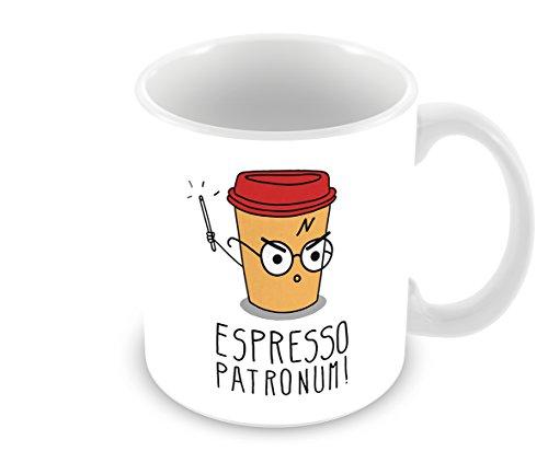 TF FT - Taza de cerámica blanca, con texto en inglés «Espresso Patronum» de Harry Potter, 311 ml