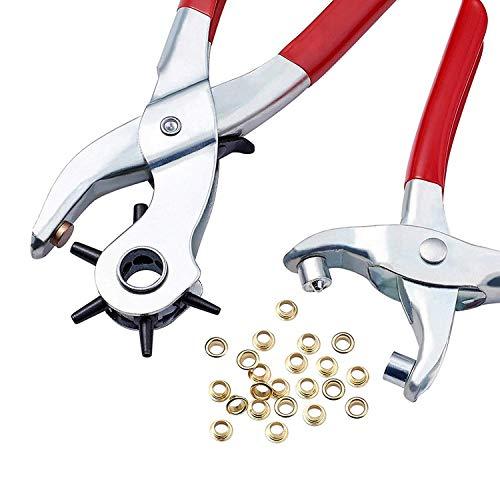 Lochzange für Leder - Stanzt ganz einfach perfekte runde Löcher mit 100 Ösen, Revolverlochzange mit Hebelübersetzung, Metall Leder Lochstanzer Druckknopf Ring Stanze für Leder