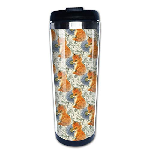 Baby Fox Blue Flowers And Vines Multi Insulated Stainless Steel Travel Mug 14 oz Classic Lowball Tumbler with Flip Lid Blue Barrel Mug