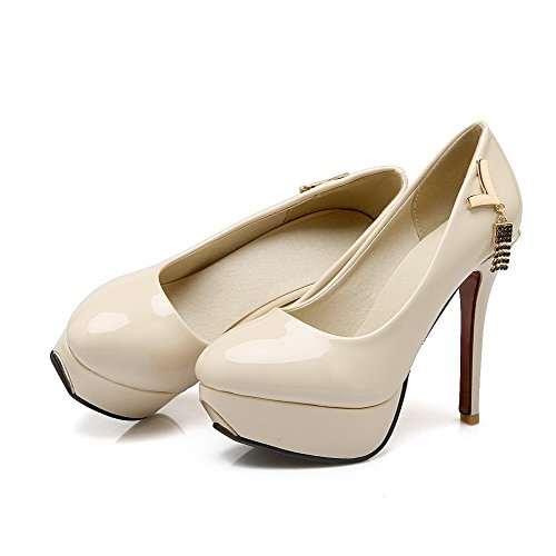 VogueZone009 Damen Ziehen Auf Pu Leder Rund Zehe Hoher Absatz Eingelegt Pumps Schuhe Cremefarben