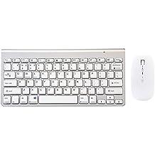 Teclado Bluetooth y ratón conjunto, URCO Bluetooth recargable teclado compacto con la verdadera versión silenciosa de Bluetooth 4.0 Rechargeable Mouse para Mac OS, Windows y dispositivos Android (Disposición QWERTY) (Plata)