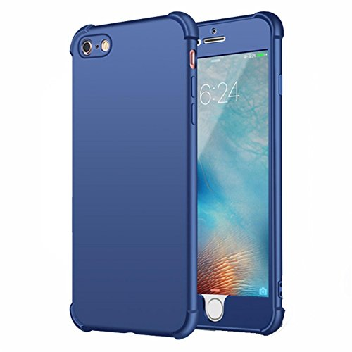 Coque iPhone 7 Plus Case Qissy® 2 IN 1 Ultra Léger 360 Full Body Shockproof Silicone TPU Non-Slip Skin Back Cover Case for IPHONE 6/6SPlus Bleu