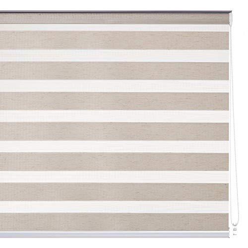 Estor Enrollable Noche y día Beige de Tela nórdico de 140 x 180 cm Fantasy - LOLAhome