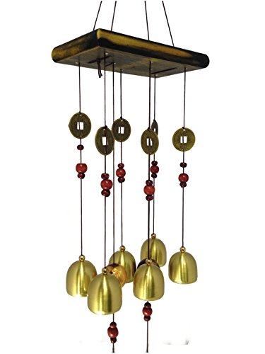 Discount4product FENG SHUI METAL & WOODEN WIND CHIME PIPES HANGING...