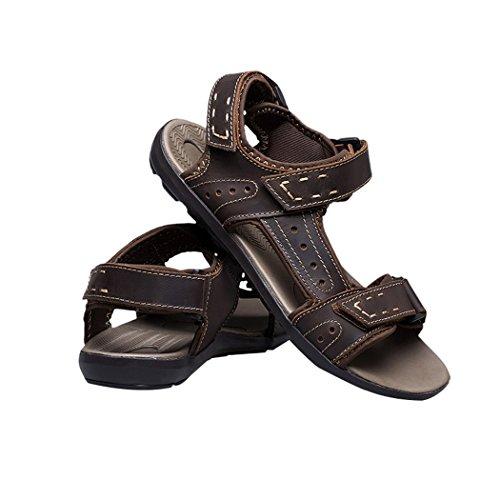 Spades et clubs en cuir pour homme à bout ouvert été Velcro Sport Randonnée Trail Chaussures Sandales Marron